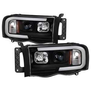 Dodge Ram 1500 02 05 2500 3500 03 Light Bar Projector Headlights Black