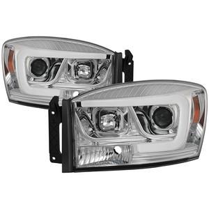 Dodge Ram 1500 06 08 2500 3500 09 Version 2 Projector Headlights Light Bar Drl Chrome