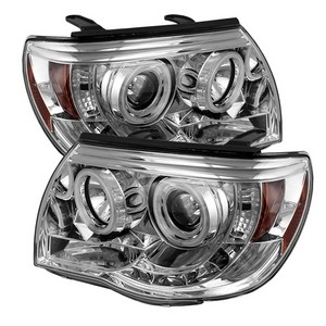 for Toyota Tacoma; 5011923 Spyder Auto Halo Projector Headlights-Chrome//Clear