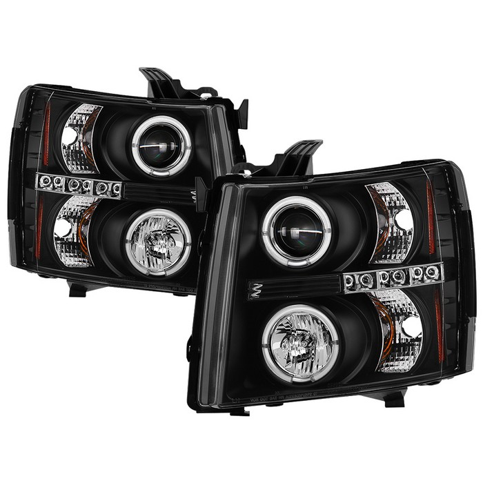 Chevy Silverado 1500 07 13 2500hd 3500hd 14 Projector Headlights Led Halo Replaceable Leds Black High H1 Included Low