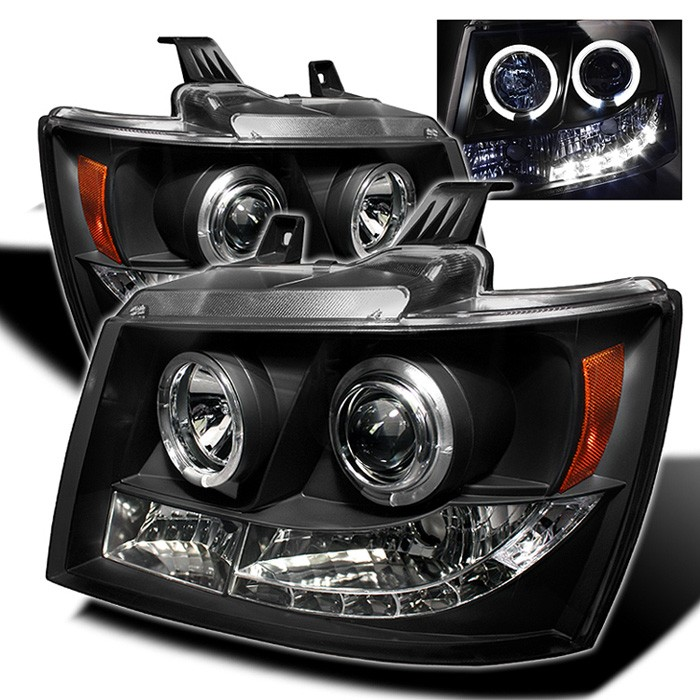 Chevy Suburban 1500 2500 07 14 Tahoe Avalanche Projector Headlights Led Halo Replaceable Leds Black High H1 Included