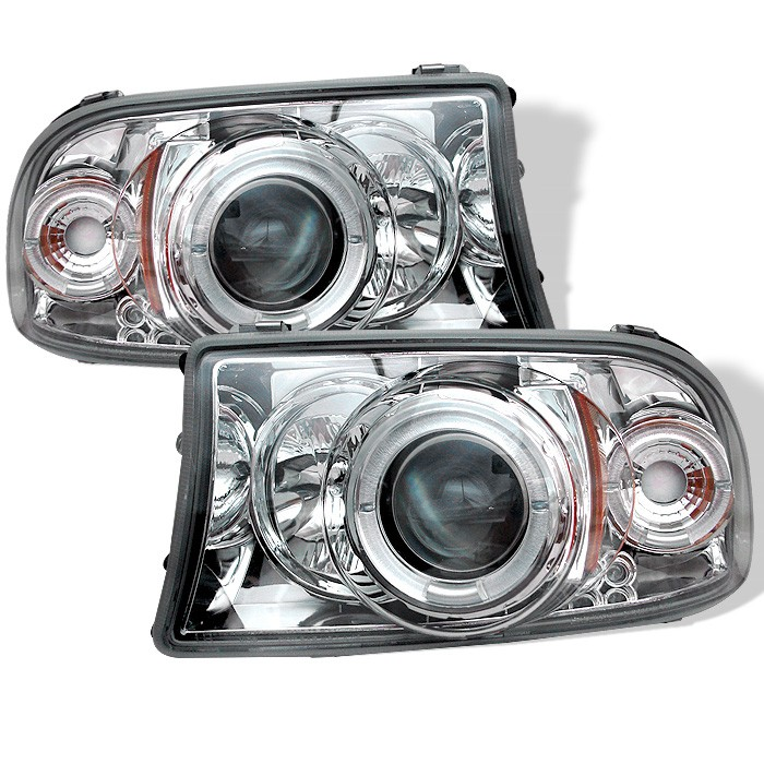 Dodge Dakota 97 04 Durango 98 03 1pc Projector Headlights Led Halo Replaceable Leds Chrome High H1 Included Low