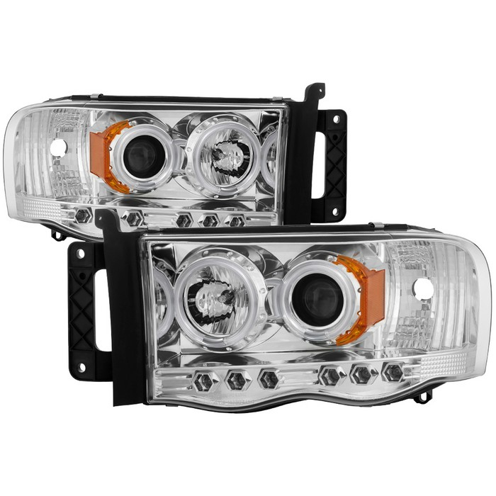 Dodge Ram 1500 02 05 2500 3500 03 Projector Headlights Ccfl Halo Led Replaceable Leds Chrome High H1 Included Low