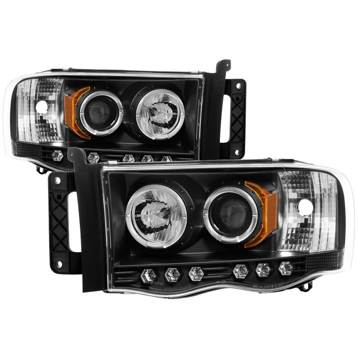 products spyder autododge ram 1500 02 05 ram 2500 3500 03 05 projector headlights led halo led ( replaceable leds ) black high h1 (included) low h1 (included)