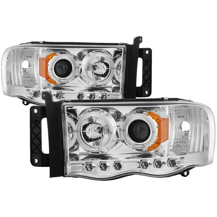 Dodge Ram 1500 02 05 2500 3500 03 Projector Headlights Led Halo Replaceable Leds Chrome High H1 Included Low