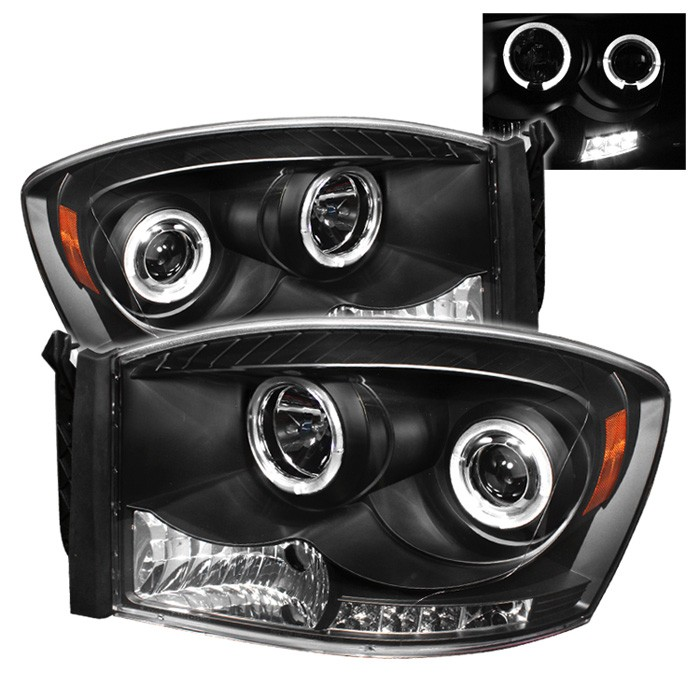Dodge Ram 1500 06 08 2500 3500 09 Projector Headlights Led Halo Replaceable Leds Black High H1 Included Low