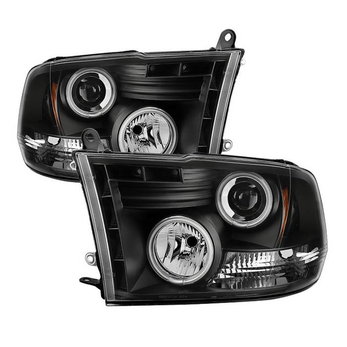 dodge ram 1500 09-16 / ram 2500/3500 10-16 projector headlights - halogen  model only ( not compatible with factory projector and led drl ) - ccfl  halo - led