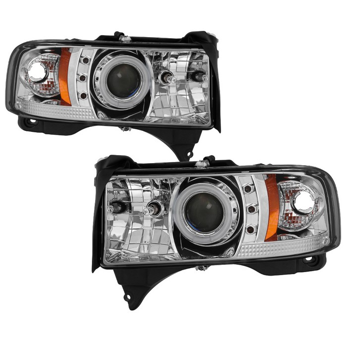 Dodge Ram 1500 94 01 2500 3500 02 99 Sport Projector Headlights Ccfl Halo Led Replaceable Leds Chrome High 9005 Included