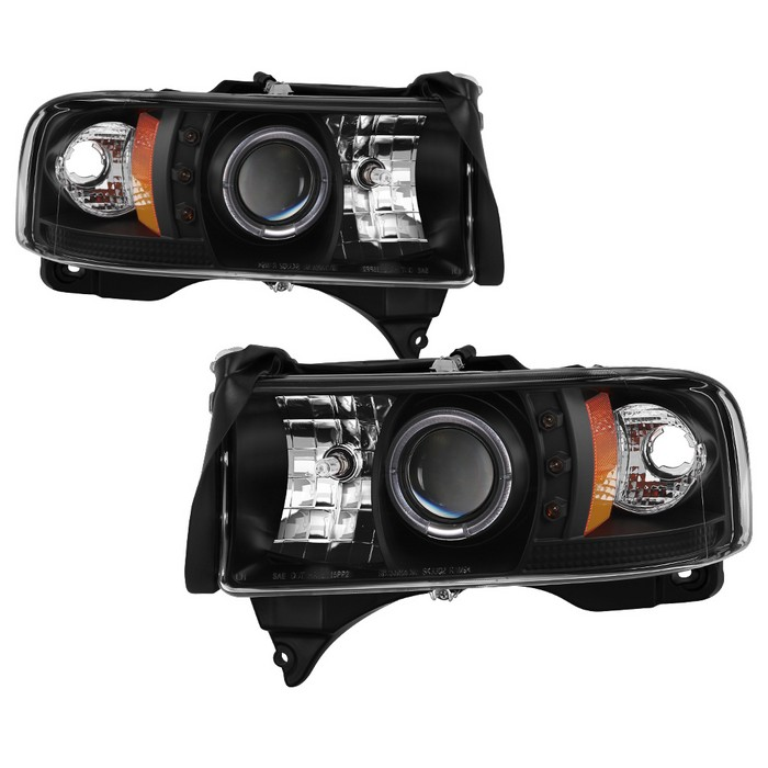 Dodge Ram 1500 94 01 2500 3500 02 99 Sport Projector Headlights Led Halo Replaceable Leds Black High 9005 Included