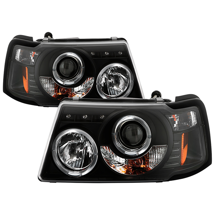 Ford Ranger 01 11 1pc Projector Headlights Led Halo Replaceable Leds Black High H1 Included Low