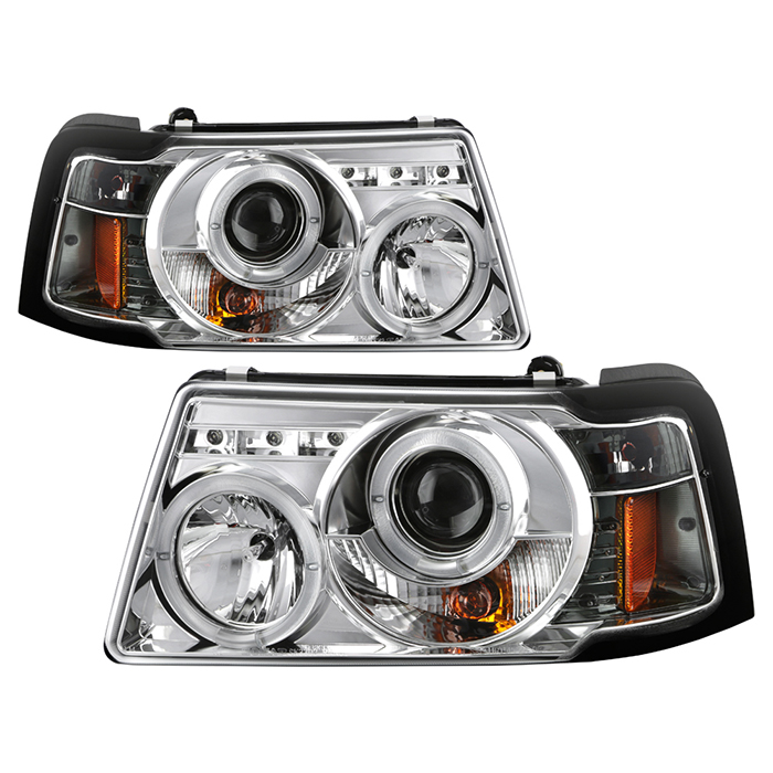 Ford Ranger 01 11 1pc Projector Headlights Led Halo Replaceable Leds Chrome High H1 Included Low