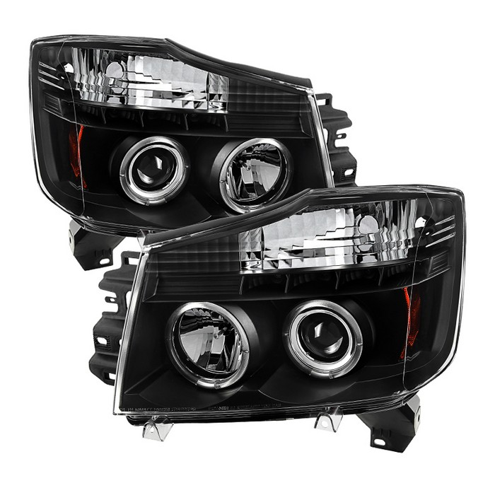 products spyder autonissan titan 04 15 nissan armada 04 07 projector headlights led halo led ( replaceable leds ) black high h1 (included) low 9006 (not included)